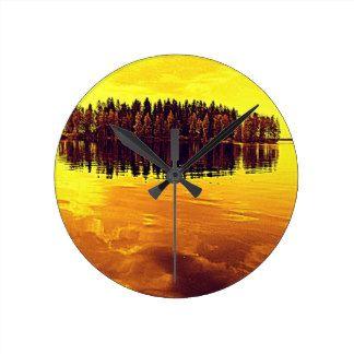 Golden Sunset Round Clock