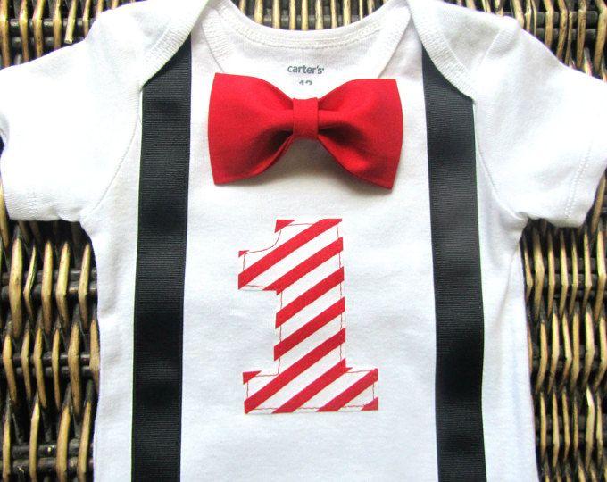 Ragazzi primo compleanno vestito - Racecar 1 ° compleanno Outfit - Bow Tie bretelle - primo compleanno vestito ragazzo - nero rosso 1 ° compleanno ragazzo vestito