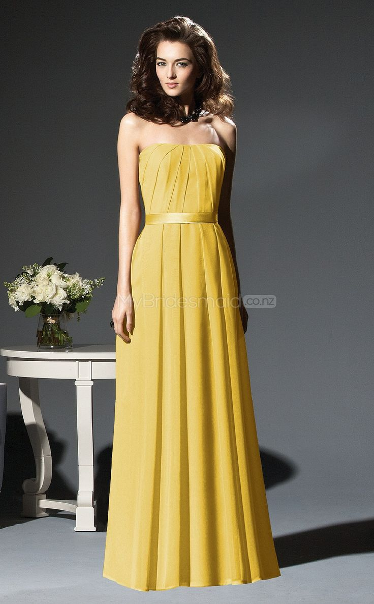 36 best bridesmaid dresses images on pinterest bridesmaids yellow chiffon a line strapless floor length bridesmaid dress from mybridesmaid creates a perfect fit for the bridesmaid and makes them look elegant yet ombrellifo Gallery