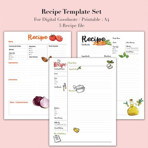 Recipe Binder Recipe Book For Digital Download Recipe Etsy Binder Recipe Book Recipe Book Diy Digital Recipe Book