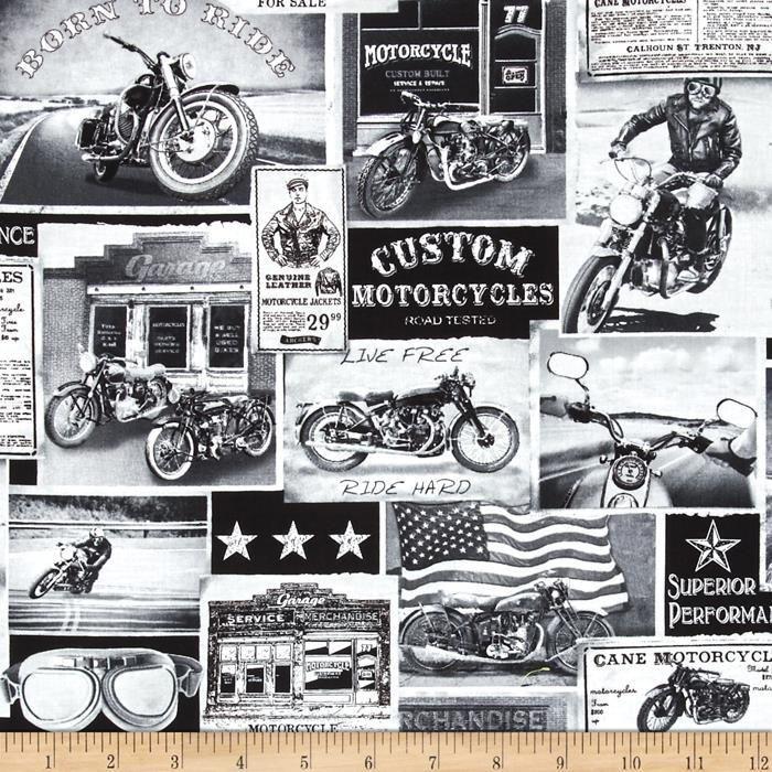 Motorbike Era Vintage News Motorcycles Cotton Quilting Fabric 1 2 Yard Cotton Quilting Fabric Quilting Crafts Quilts