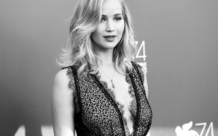 Download wallpapers Jennifer Lawrence, American actress, portrait, monochrome, black dress, 4k