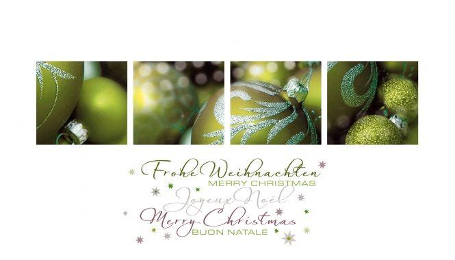 weihnachtskarte, grün, christbaumkugeln