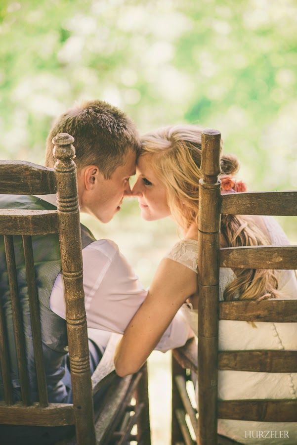 Love this shot of this bride & groom in the rocking chairs. Grow old with me, the best is yet to be. | Hurzeler Photography