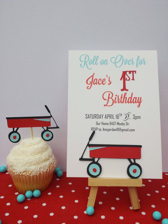 17 Best images about Little Red Wagon Party – Red Wagon Birthday Invitations