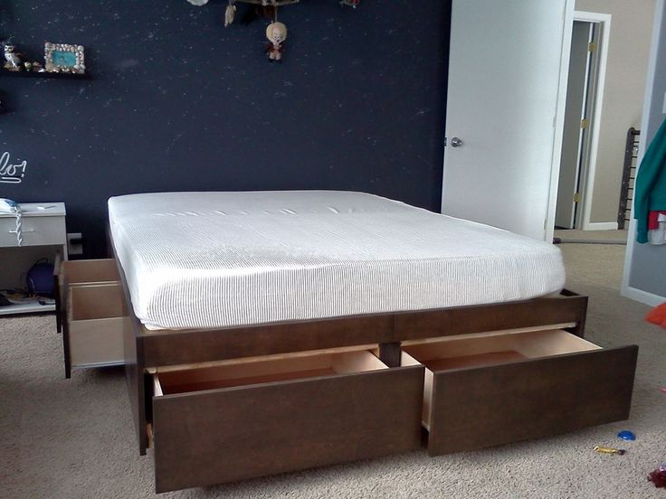 platform bed with drawers storage