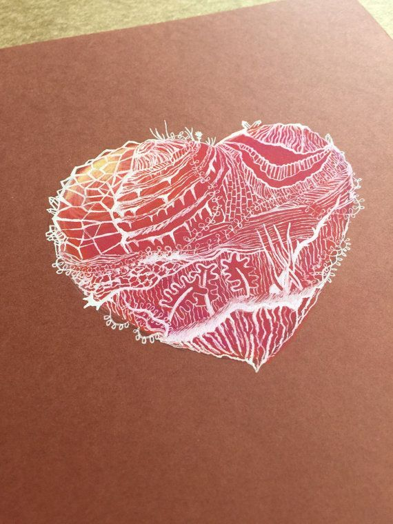 Mixed media drawing heart OOAK by SandyPrintShop on Etsy