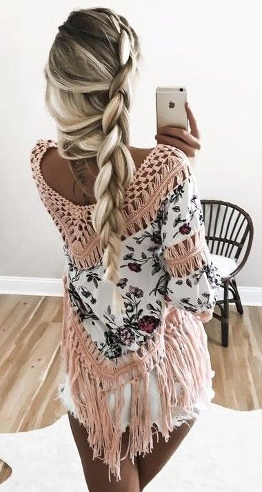 #summer #ultimate #outfits |  Floral Crochet Fringe Top + Shorts