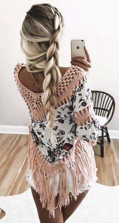 Floral Crochet Fringe Top + Shorts. Cute braid