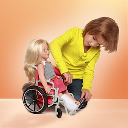 Love the wheelchair, plaster and crutches made by WeGirl and available at Petalina.