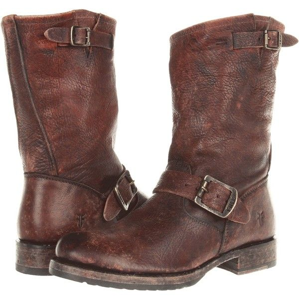 Frye Veronica Short Women's Boots, Brown (300 CAD) ❤ liked on Polyvore featuring shoes, boots, ankle booties, brown, short brown boots, platform booties, brown boots, short leather boots and short booties