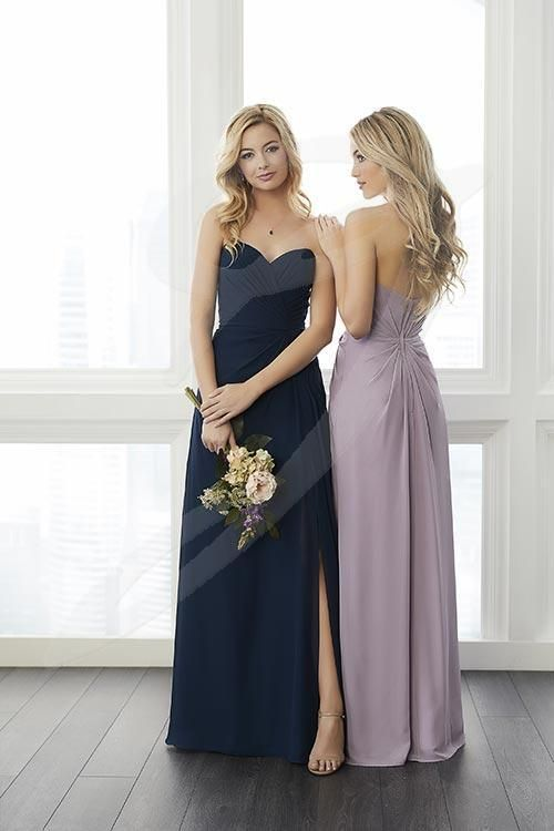 Balletts Bridal - 24815 - Bridesmaids by Jacquelin Bridals Canada - This strapless chiffon gown features flattering draping across the bodice and the skirt. The skirt also features a slit. Pictured in Thistle, Navy.