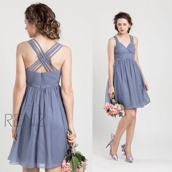 2016 Steel Blue Bridesmaid dress Short Wedding dress by RenzRags