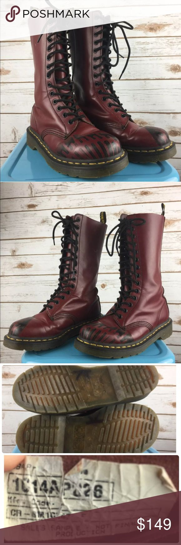 """Doc Martens Oxblood Footprint Boots Sample 6 Women Doc Martens Oxblood Footprint Boots Sales Sample Rare 14 Hole Htf Size 6 Women's Amazing sales sample doc martens. Oxblood red with a black boot print design on the toes. Some minor wear from very mild use. Soles have """"K"""" in marker on the bottom. There is no size printed on the inside. These are sales samples and very rare. The inside sole measures 9"""" which the doc marten website says is the equivalent to a US women's size 6. They measure…"""