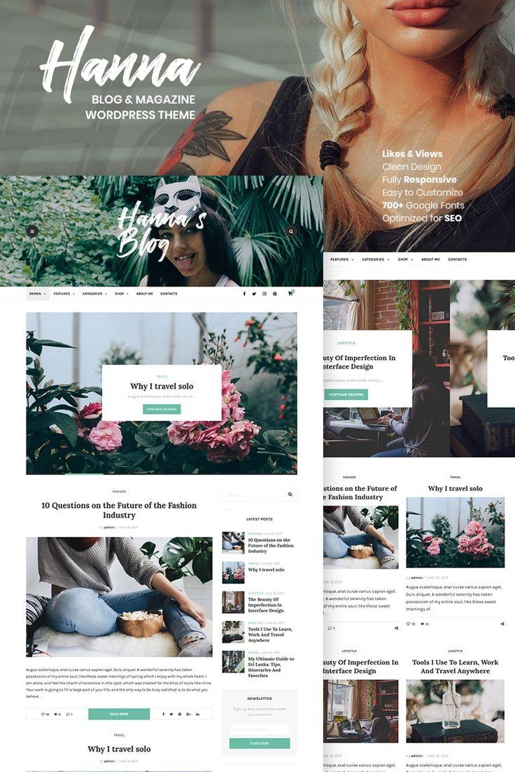 Hanna - A Beautiful Blog & Magazine WordPress Theme #67268