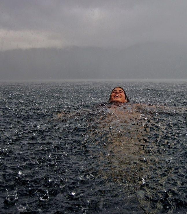 Swimming in the Rain - Lago Caburgua, Chile. Photo by Camila Massu