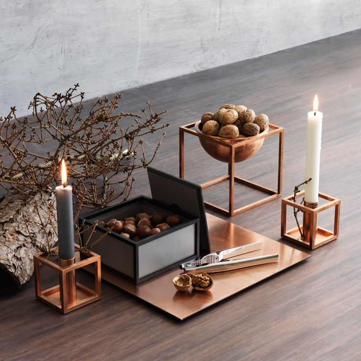 These copper items will add warmth to any table. Kubus 1, and Kubus bowl. www.shopkontrast.com.