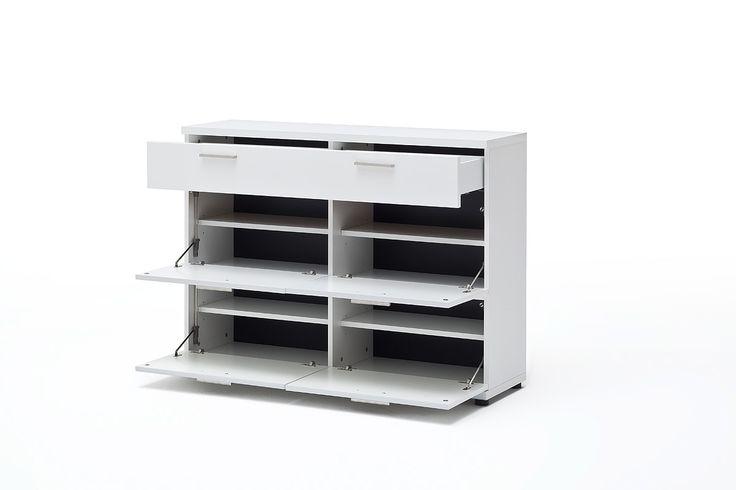 Schuhschrank Rubin II Hochglanz Weiß Klare moderne Möbellinie Passend zur Möbelserie Rubin 1 x Schuhschrank mit 4 Türklappen aus Holz und 1 Schubkasten Maße:...  #flur #schuhschrank