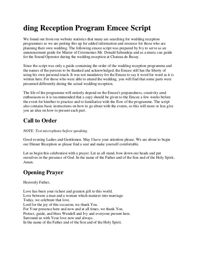 Ding Reception Program Emcee Script We Found Out From Our Website Statistics That Many Wedding Reception Program Mc Wedding Script Master Of Ceremonies Wedding