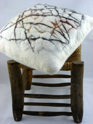 "Hand felted abstract cushion 'Earth'. Approx. 18"" x 18"" (46cm x 46cm). $107,00, via Etsy by Gladys Paulus"