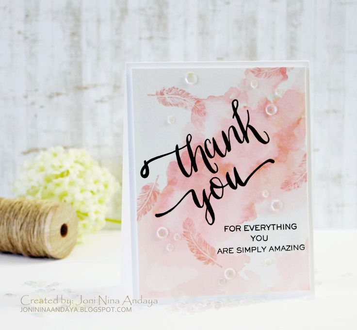 wedding thank you cards time limit%0A Watercolored Thank You card by  Joni Andaya for Wplus  featuring Dream  Believer and Hand Lettered