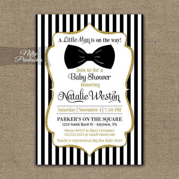 Elegant black and gold glitter baby shower invitation featuring a black bow tie.  Find matching Baby Shower items here: https://www.etsy.com/shop/NiftyPrintables/search?search_query=BGL+baby  This listing is for one customized invitation in digital form, 5x7. Print them at home or send them to a printer, its all good!  You Choose: ▪ JPG (for online printers & photo labs) or ▪ PDF w/ 2 per page (home printing & Staples, Kinkos,etc.)  When checking out, please include in the Notes To Seller: ▪…