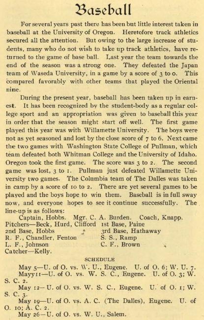 Recap of 1907 UO Baseball.  From the 1907 U.O. Bulletin (UO Yearbook).  www.CampusAttic.com