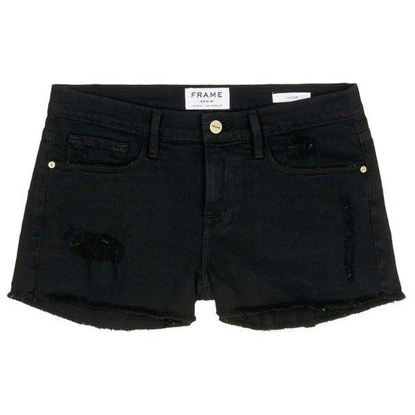 Frame Denim 'Le Cut Off' distressed denim shorts ($195) ❤ liked on Polyvore featuring shorts, pants, black, frame denim, cut-off shorts, checkered shorts, cut off shorts and distressed denim shorts