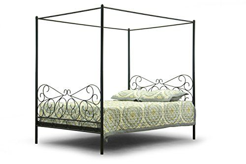 Baxton Studio Monticello Metal Contemporary Canopy Bed, Queen ** To view further for this item, visit the image link.