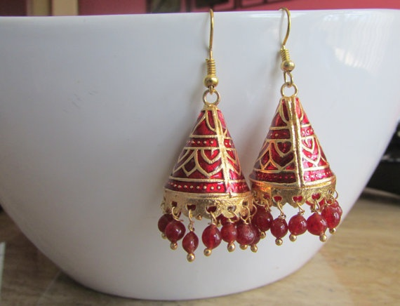 Red and Gold Meenakari Hand Painted Earrings  by RumiCollections