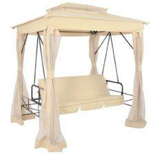 Hollywoodschaukel im Pavillon-Design mit Bettfunktion und Insektenschutz in cappuccino
