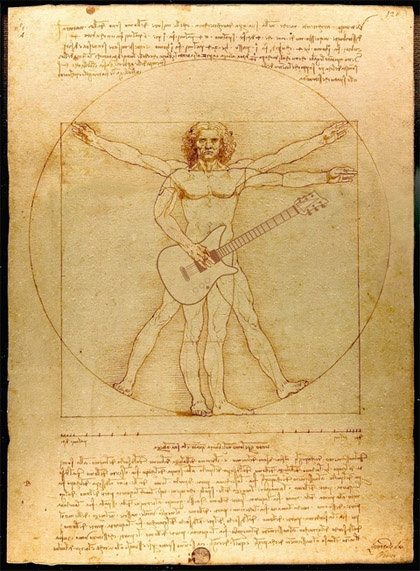 Vitruvian Guitar Man    The original Vitruvian Man drawing was created by Leonardo da Vinci circa 1487. The drawing is based on the correlations of ideal human proportions with geometry described by the ancient Roman architect Vitruvius in Book III of his treatise De Architectura. Vitruvius described the human figure as being the principal source of proportion among the Classical orders of architecture. Leonardo's drawing is traditionally named in honor of the architect. (source: Wikipe