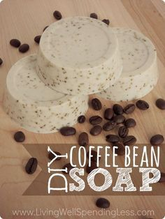You won't believe how easy it is to whip up this luscious homemade coffee bean soap--just 3 ingredients and 15 minutes is all you need!  A perfect gift for the coffee lover in your life, or just a great way to start your day!