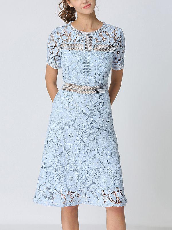 Light Blue Crochet Lace Midi Dress In 2019 Lace Midi Dress