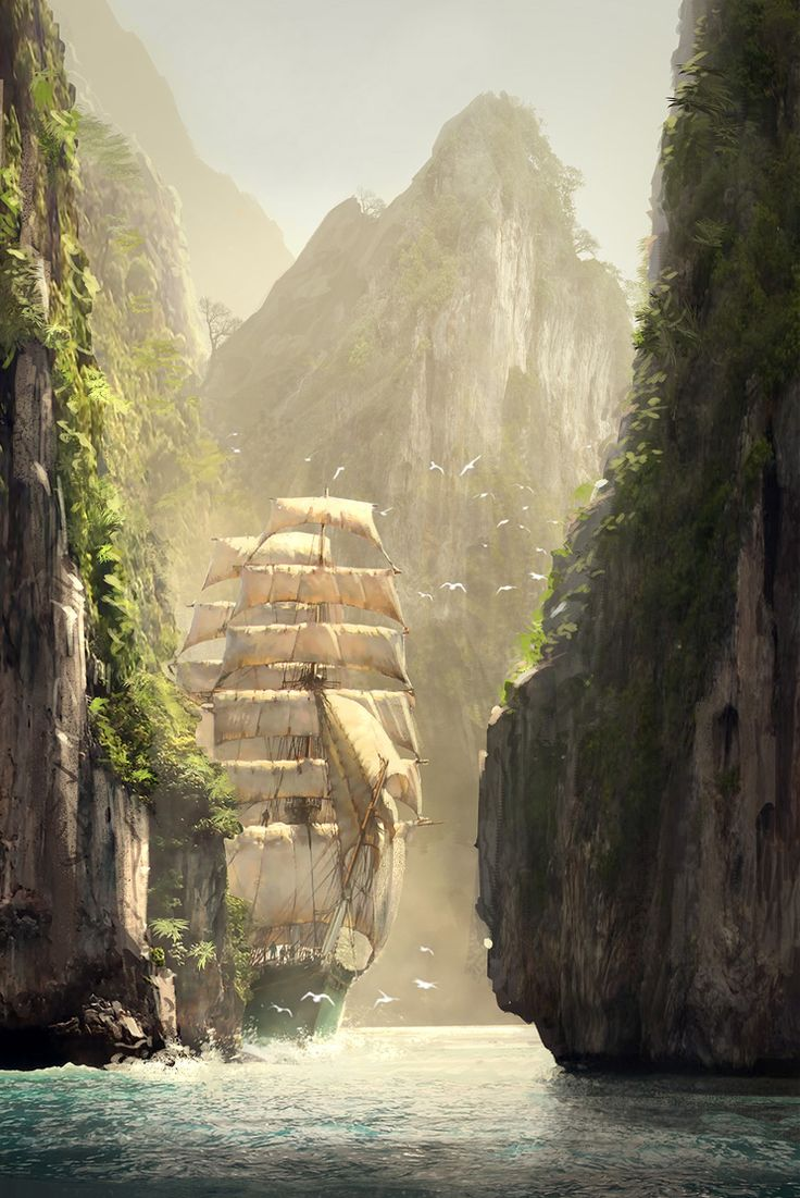 In the Kingdom ~ Along the Strait of Ara Lulia (Assassin's Creed concept, by R. Lacoste).: