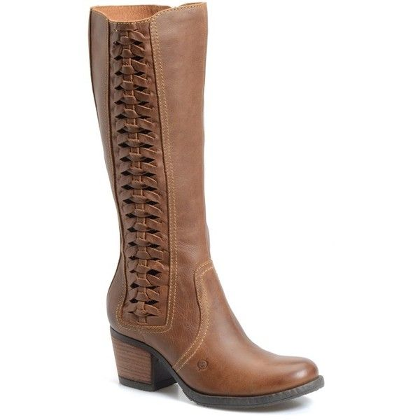 """Born 'Ochoa' Western Boot, 2 1/2"""" heel (275 AUD) ❤ liked on Polyvore featuring shoes, boots, mid-calf boots, tan leather, leather boots, round toe cowgirl boots, cowboy boots, cowgirl boots und knee high leather boots"""