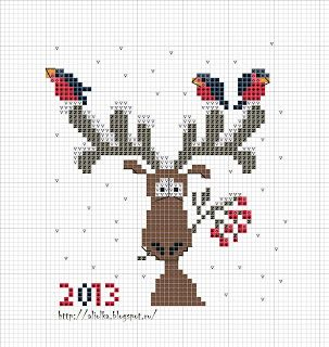 adorable snow reindeer with birds cross stitch