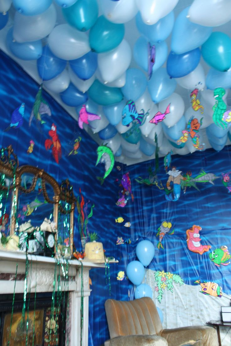 Perfect for a Little Mermaid or Under the Sea party! Balloon covered ceiling + Hanging fish are great, but the scene setter walls finish the look. May want to use the marble trick so balloon knots stay toward the ceiling.