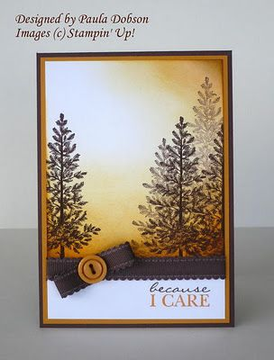 """By Paula Dobson. Uses stamp from """"Lovely as a Tree"""" by Stampin' Up."""