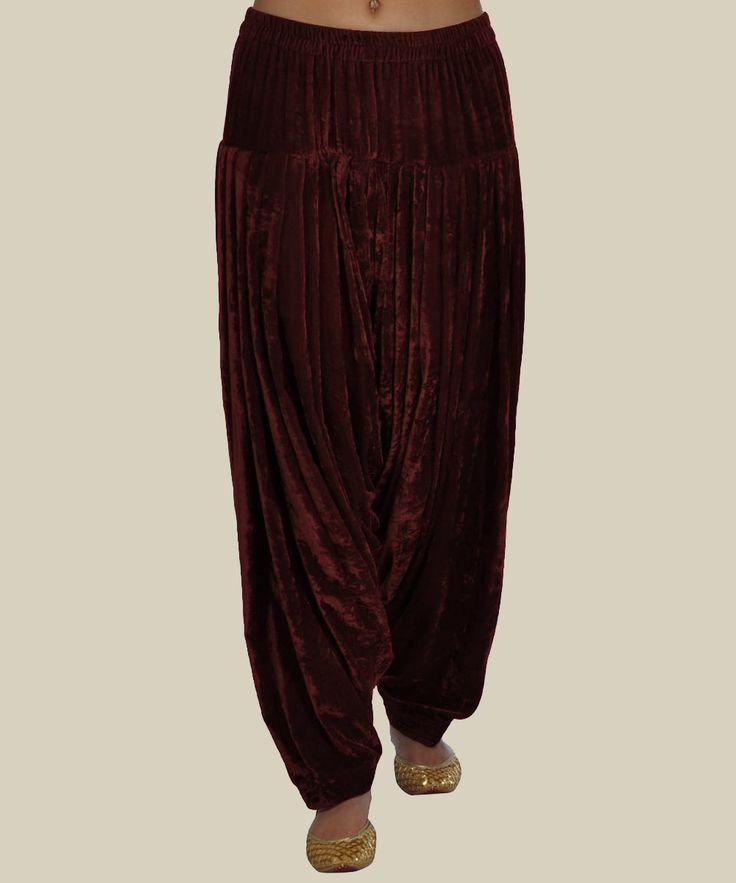 Maroon Pure Velvet-Silk Shahi Patiala ( Full Patiala) Salwar Pants