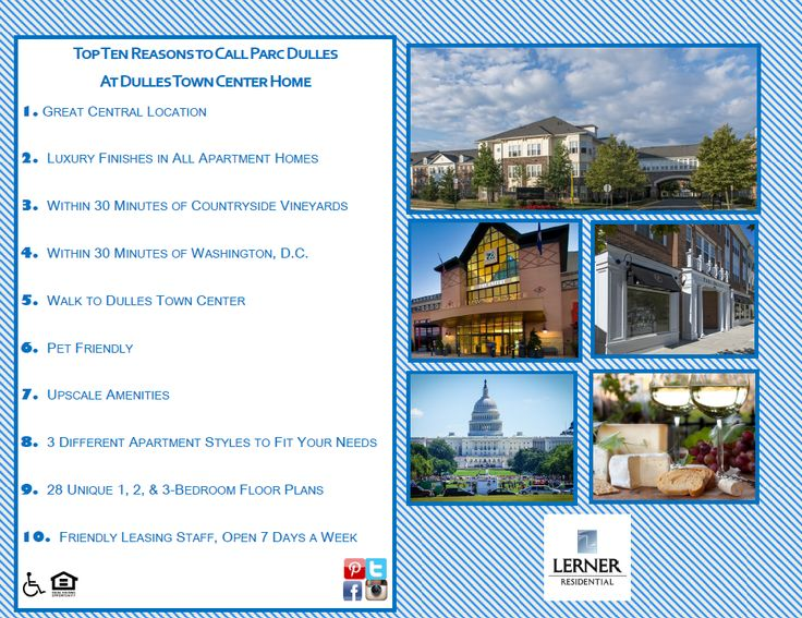 We Compiled Our Top 10 Reasons To Call Parc Dulles At Dulles Town Center Home Explore Our Community And Tell Us Your Favorit Towns Apartment Style Countryside