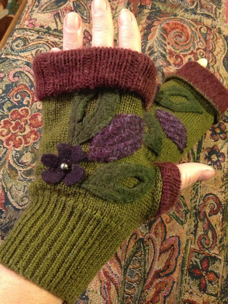 Recycled Wool Fingerless Gloves Olive Green by danamurphydesigns, $28.00
