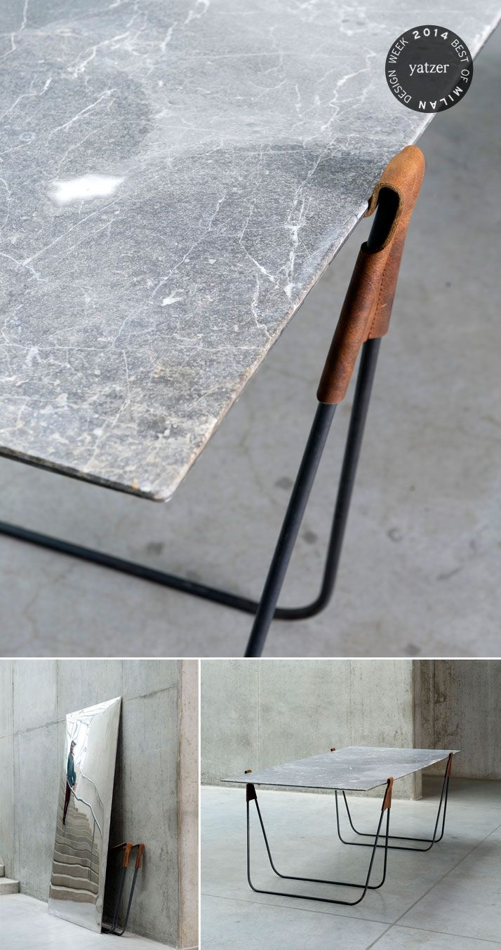 The marble trestle table 'In Vain' by designer Ben Storms also doubles as a standing mirror. http://www.yatzer.com/best-of-milan-design-week-2014