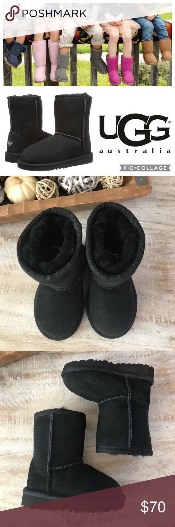 ❄️KIDS!! UGG Classic Short Boot {Black} 6 Keep your little one's feet warm this season with these Classic Short Boots from Ugg! An adorable short boot is designed especially for a child's foot. The soft, cozy lining is made from genuine shearling or plush UGGPure, a textile made from wool but shaped to feel and wear like genuine shearling. Twinface sheepskin upper/EVA sole. Dept store closeout/store sample. Brand new! 🚫no trades, low offers not accepted. UGG Shoes Boots