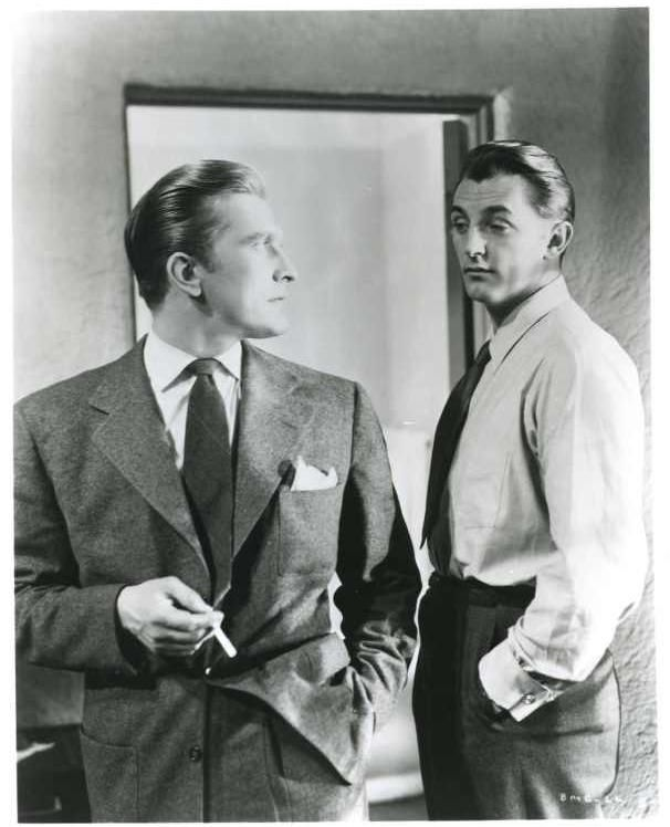 "Kirk Douglas and Robert Mitchum, ""Out of the Past"" aka ""Build My Gallows High"" directed by Jacques Tourneur ,1947."