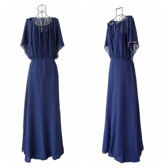 Maxi Dress // Vintage Navy Polka Dot Print Dress // by LPSNUG
