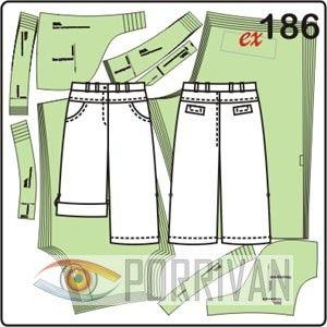 Выкройка летних шорт в джинсовом стиле построена для женских размеров 44, 46, 48, 50, 52, 54. У шорт можно сделать подворот снизу.