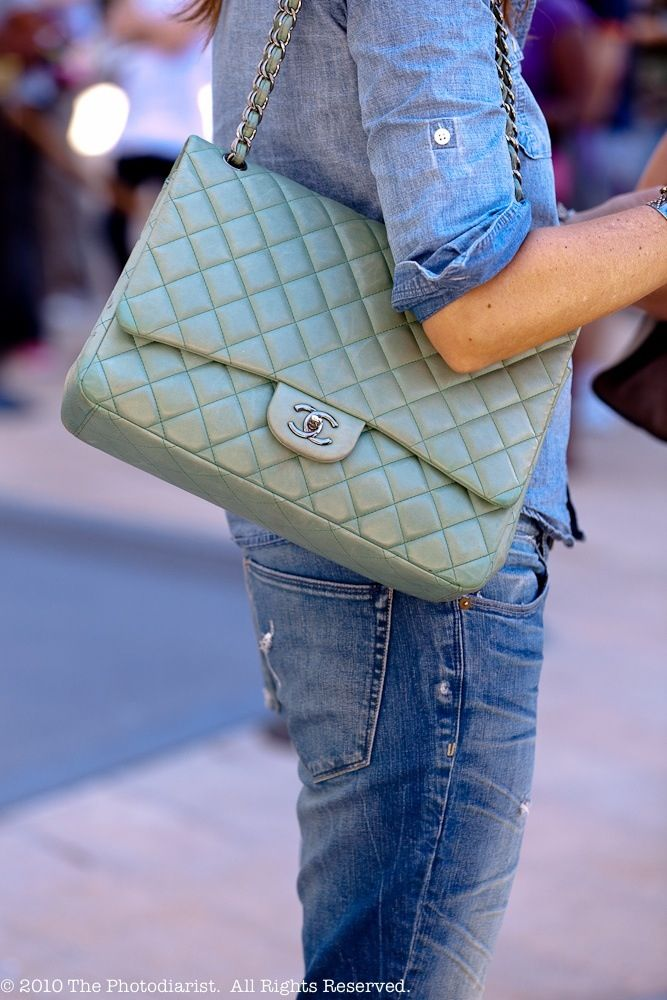 Street style mint pastel green leather Chanel classic flap bag