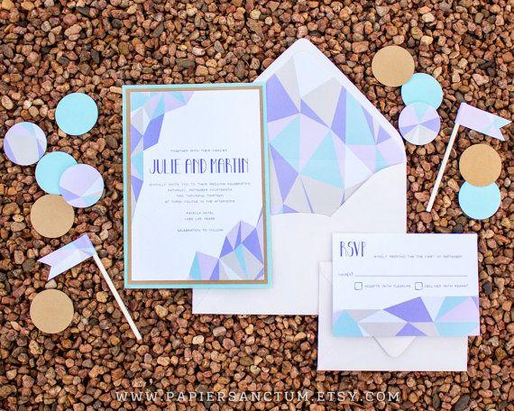 Geometric Crystal Pastels Wedding Invitation Set