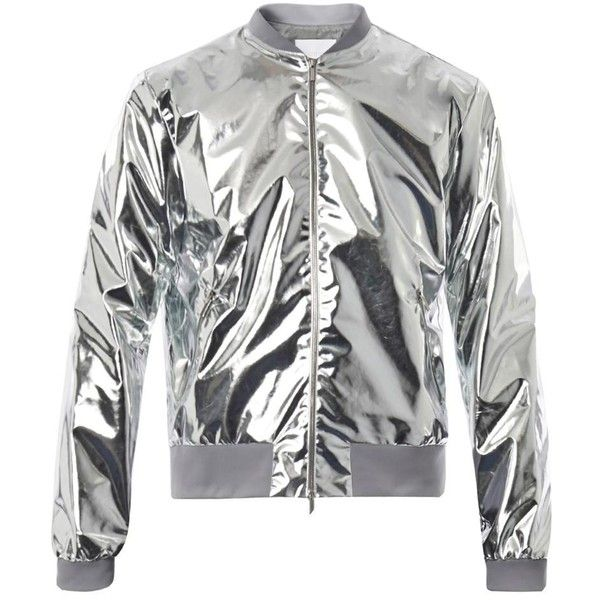 RICHARD NICOLL Metallic lightweight bomber jacket (380 CAD) ❤ liked on Polyvore featuring men's fashion, men's clothing, men's outerwear, men's jackets, coats, silver, mens grey jacket, mens lightweight jacket, mens light weight jackets and mens metallic jacket